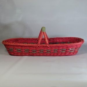 Other - Long Woven Wicker Basket w/Handle, Center Piece